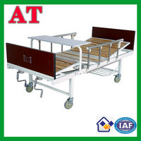triple-folding medical bed with wood bedhead